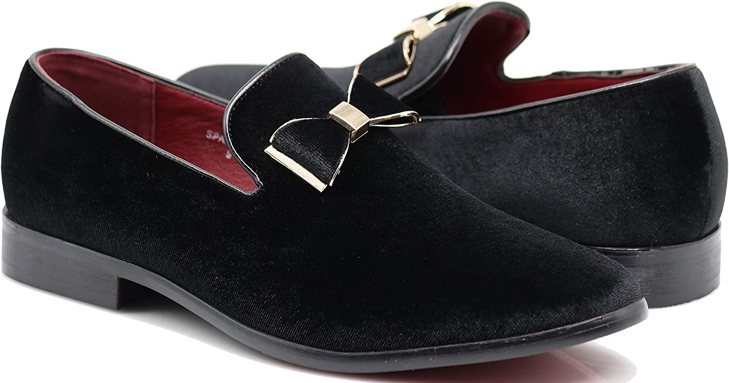 SPKO23N Men's Vintage Bow Tie Velvet Dress Loafers Slip On Fashion Shoes Classic Tuxedo Formal Shoes