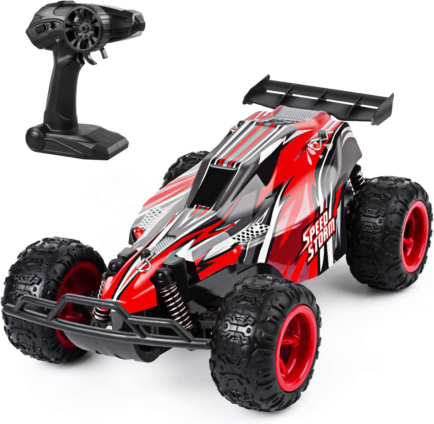 Amazon Com Jeypod Remote Control Car 2 4 Ghz High Speed Racing Rc Car With 4 Batteries Kids Toys Red Toys Games