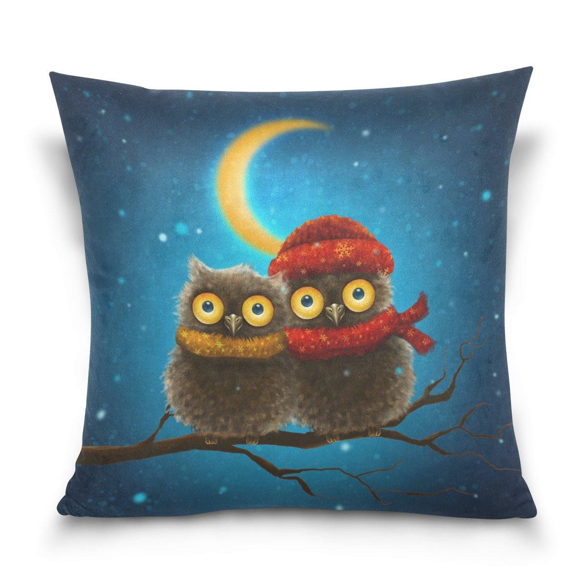 (18x18, Multicolour-owl) - Double Sided Little Snow Owls Blue Sky Moon Star and Snowflakes Cotton Velvet Throw Pillow 46cm x 46cm Zipper Pillowcase for Decorative Pillows B075H1PGFP 18x18 Multicolour-owl Multicolour-owl 18x18