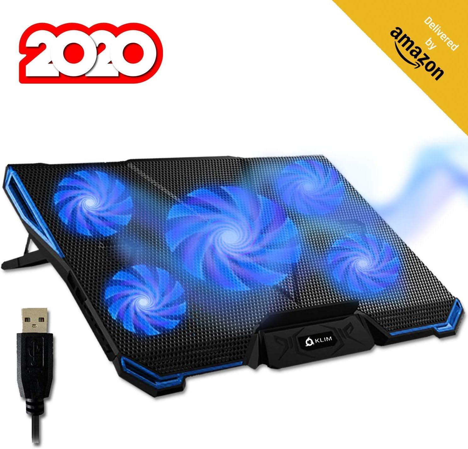pad de 5 coolers para laptop cooling por usb azul