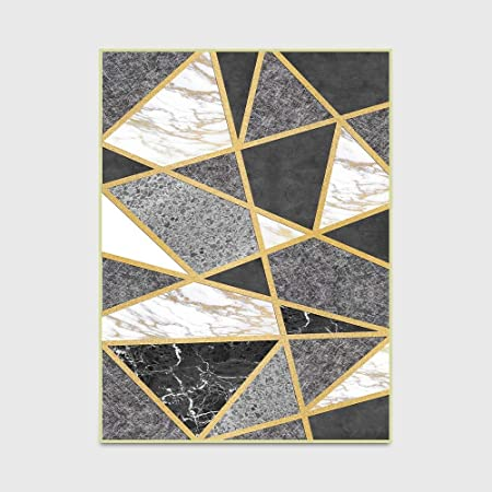 Accueil Mode Moderne Tapis Noir Et Blanc Gris Marbre Or