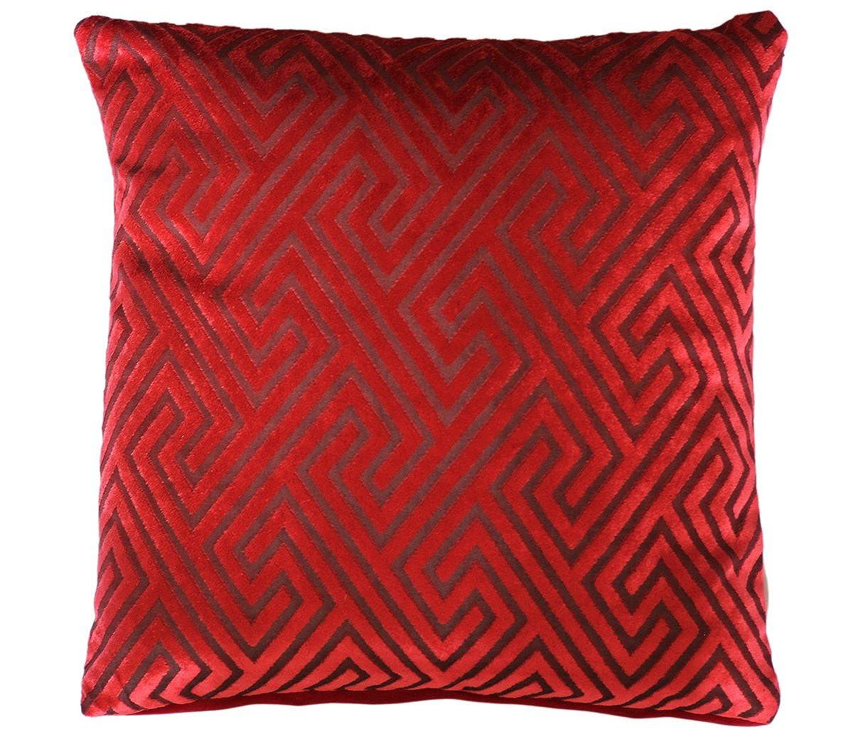 Belle conception grecque clé Chenille Velvet Print 16 X 16 Coussin Housse Oreiller pour canapé-lit