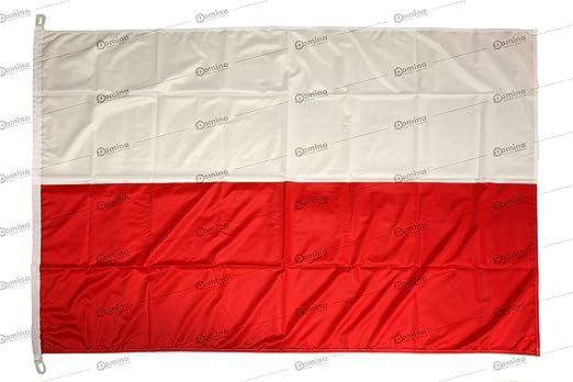 Bandera Polonia 150x100cm en tela náutico resistente al viento 115g/m², bandera de Polonia 150x100cm, bandera polaca 150x100cm con cordón o mosquetones, doble costura perimetral y cinta de refuerzo: Amazon.es: Jardín
