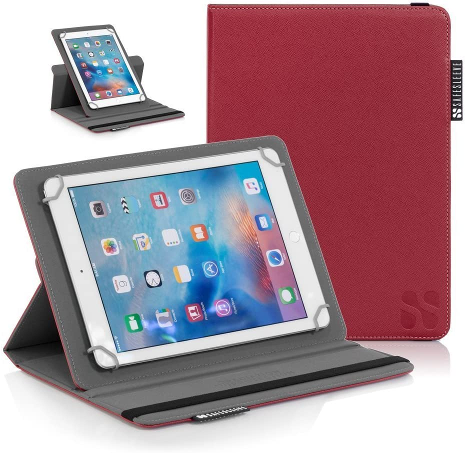 """SafeSleeve iPad EMF Radiation Blocking Case Universal Tablet Case for for 9""""-10"""" Tablet Computers Including iPad, iPad Air, iPad Pro 9.7, Galaxy Tab 9.7, Nexus 10, Nook HD+ and More - Red"""