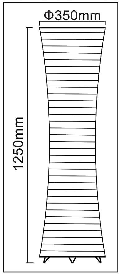 Trango - Lámpara de pie, pantalla de papel de arroz, diseño moderno, 125 x 35 cm