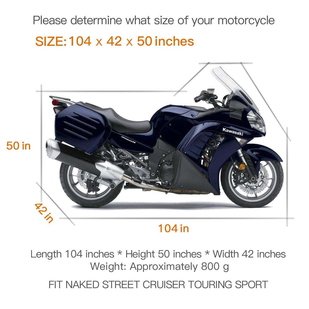 Waterproof Motorcycle Cover, All Weather Outdoor Protection, 210D Oxford  Durable and Tear Proof for 104 inches XXL Motorcycles like Honda, Yamaha,