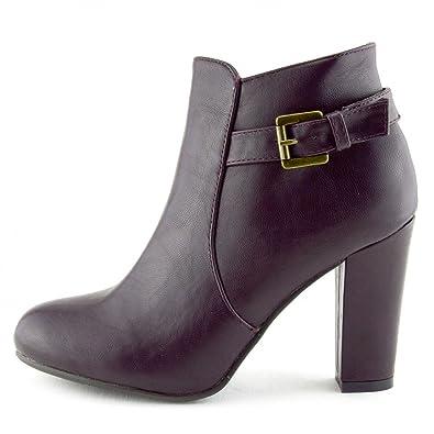 Womens Mid High Block Heel Biker Chelsea Ankle Boots Casual Zip Up Shoes