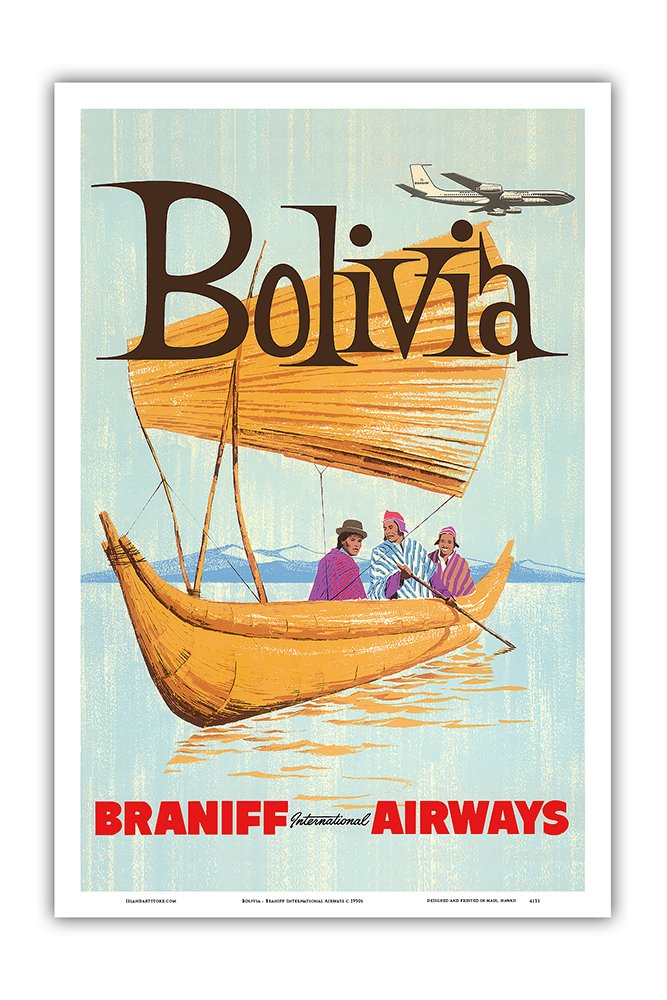 9in x 12in Bolivia Master Art Print Braniff International Airways Vintage Airline Travel Poster c.1950s