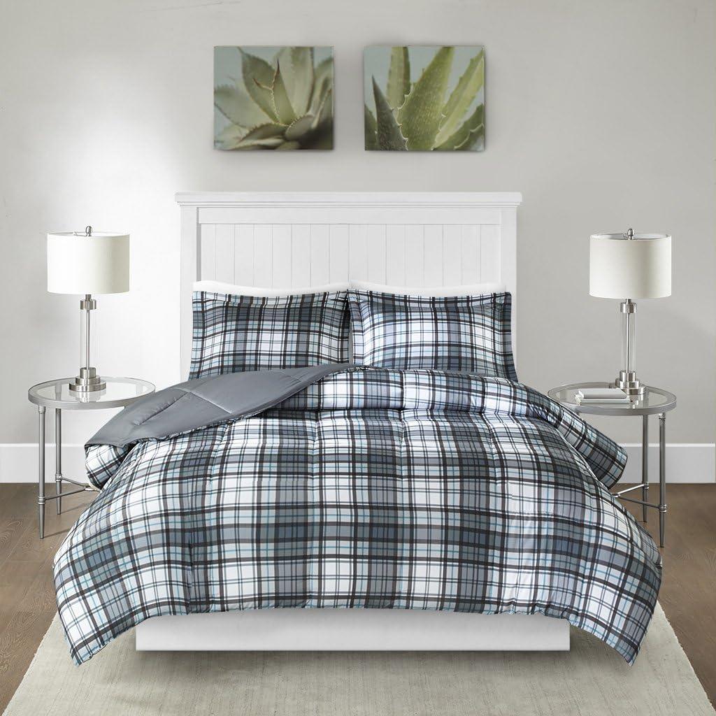Madison Park Essentials Parkston 3M Scotchgard Stain Release Plaid Down Alternative Comforter Mini Set, Twin/TwinXL, Grey