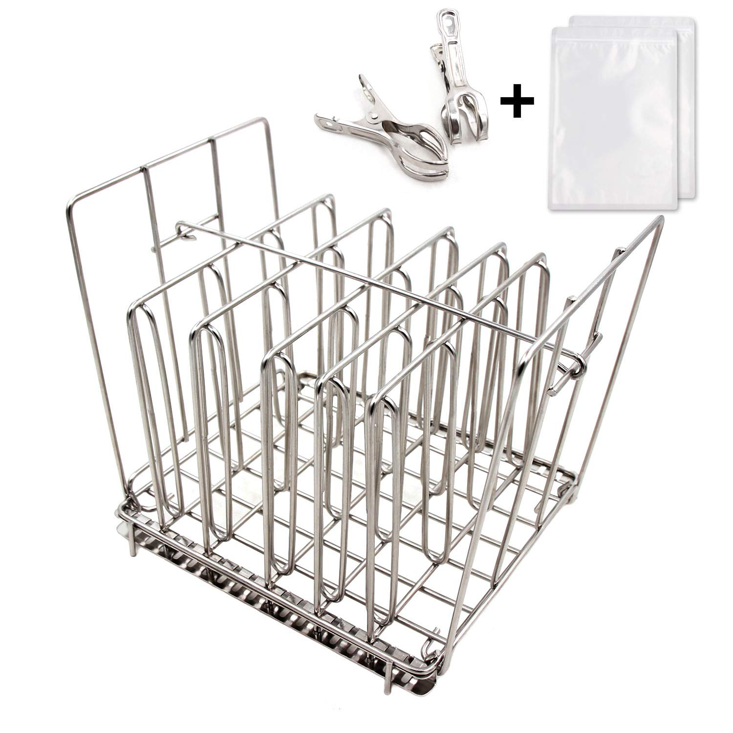 Sous Vide Rack Stainless Steel-Square 7.5 x 6.5 Inch- with Adjustable No-Float Top Bar, Collapsible Compact Design,Ensures even and Quick warming with Sous Vide Cooking,Fits Most 12qt Containers by BENGKU