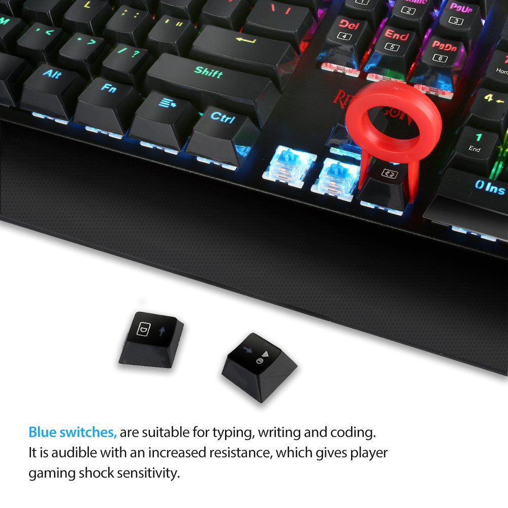 Redragon K557 KAlA RGB Backlit Waterproof Mechanical Gaming Keyboard with Blue Switches, Anti-ghosting 104 Keys by Redragon (Image #2)