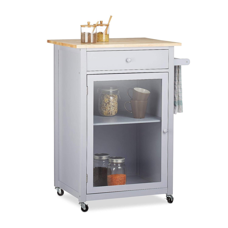 Relaxdays Küchenwagen mit Glastür, Schublade, Arbeitsplatte, 360° drehbare Rollen, Holz, HBT  87,5x63,5x48cm, Natur grau
