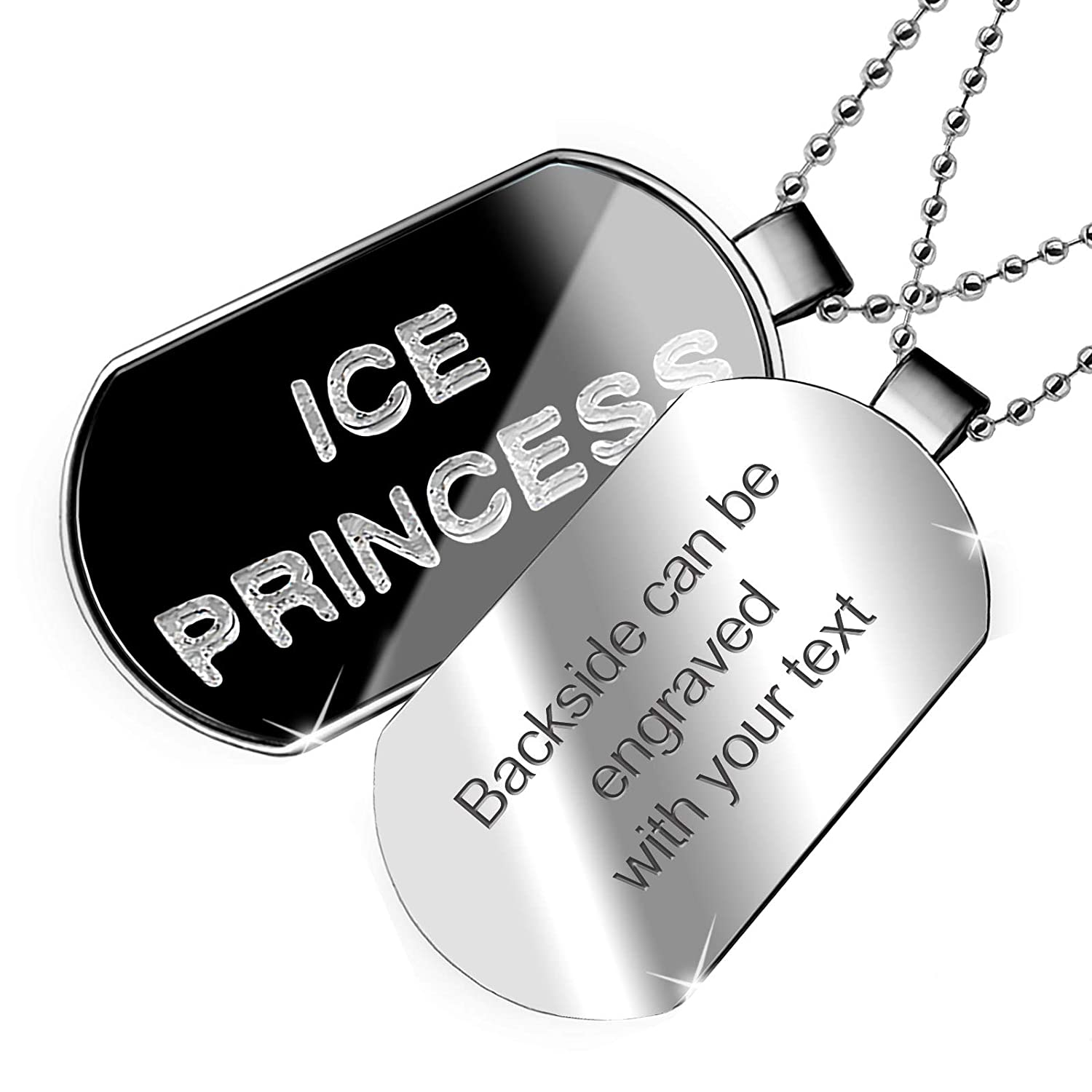 NEONBLOND Personalized Name Engraved Ice Princess Clear Ice Cubes on Black Dogtag Necklace