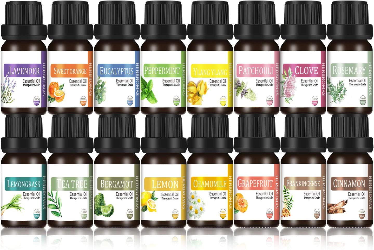 HERBROMAS - Essential Oils Set Top 16x10ml 100% Pure and Natural Oils for Aromatherapy Diffuser [Lavender Eucalyptus Rosemary Frankincense Cinnamon Clove Patchouli Bergamot Ylang Ylang Chamomile]