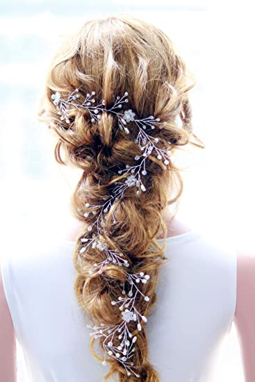 Amazon.com : Missgrace Extra Long Hair Vine Crystals Bridal Hair ...