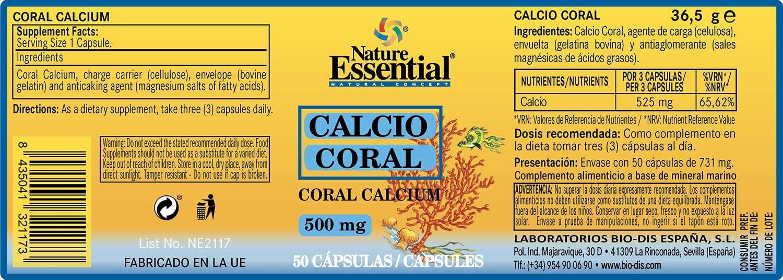 Calcio coral 500 mg. 50 cápsulas: Amazon.es: Salud y cuidado personal
