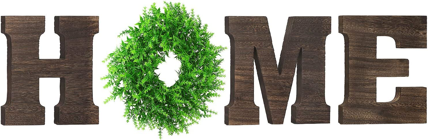 Biewoos Wall Hanging Home Sign with Artificial Eucalyptus for O, Rustic Wooden Home Letters with Wreath, Farmouse Home Wall Decor Signs for Living Room, Dinning Room, House