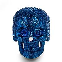 AUMRET Halloween Titanium Steel Men Personality Skull Blue Ring (10)
