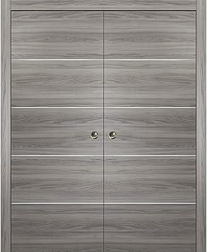 Puerta corredera de doble bolsillo gris con tiras, Planum 0020 ...