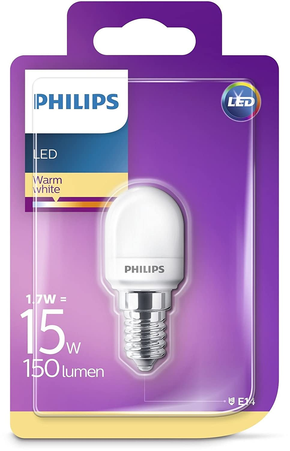 Philips Capsula No regulable - Bombilla LED E14, equivalente a 15 W, color blanco cálido