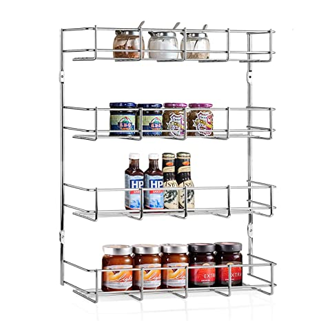 INTEY Wall Mounted Spice Rack, Spice Rack Organizer, 4 Tier Spice Organizer  For