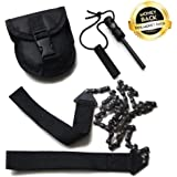 Sunfung Survival Pocket Chain Saw Chainsaw 24 Inches Portable Hand Saw For Camping Hiking Backpacking Hunting Boy-scouts Emergency Gear Backyard Cleanup Pruning + Compass Fire Starter!