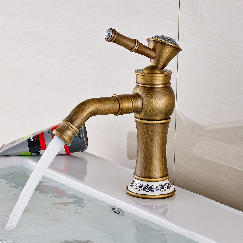 Rozin Crystal Deco Bathroom Single Lever Sink Faucet Antique Brass ...