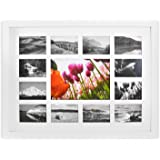Golden State Art, 13-Opening 12x16-inch Collage Photo Wood Frame with White Mat & Real Glass, White