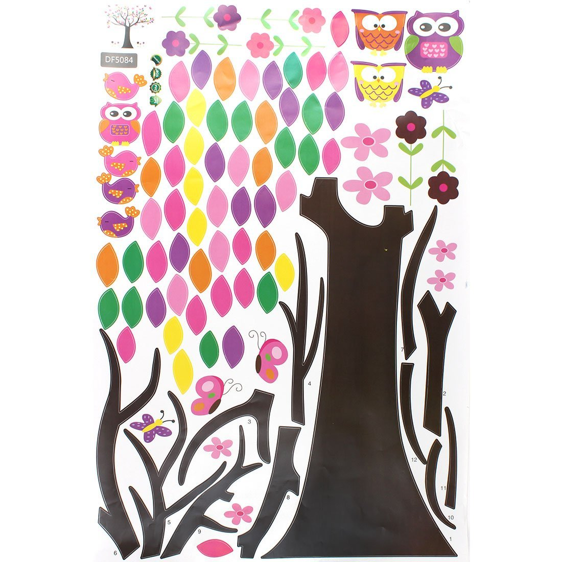 Patrón eDealMax búho de la flor del árbol del hogar extraíble etiqueta de la pared del papel pintado de la decoración - - Amazon.com