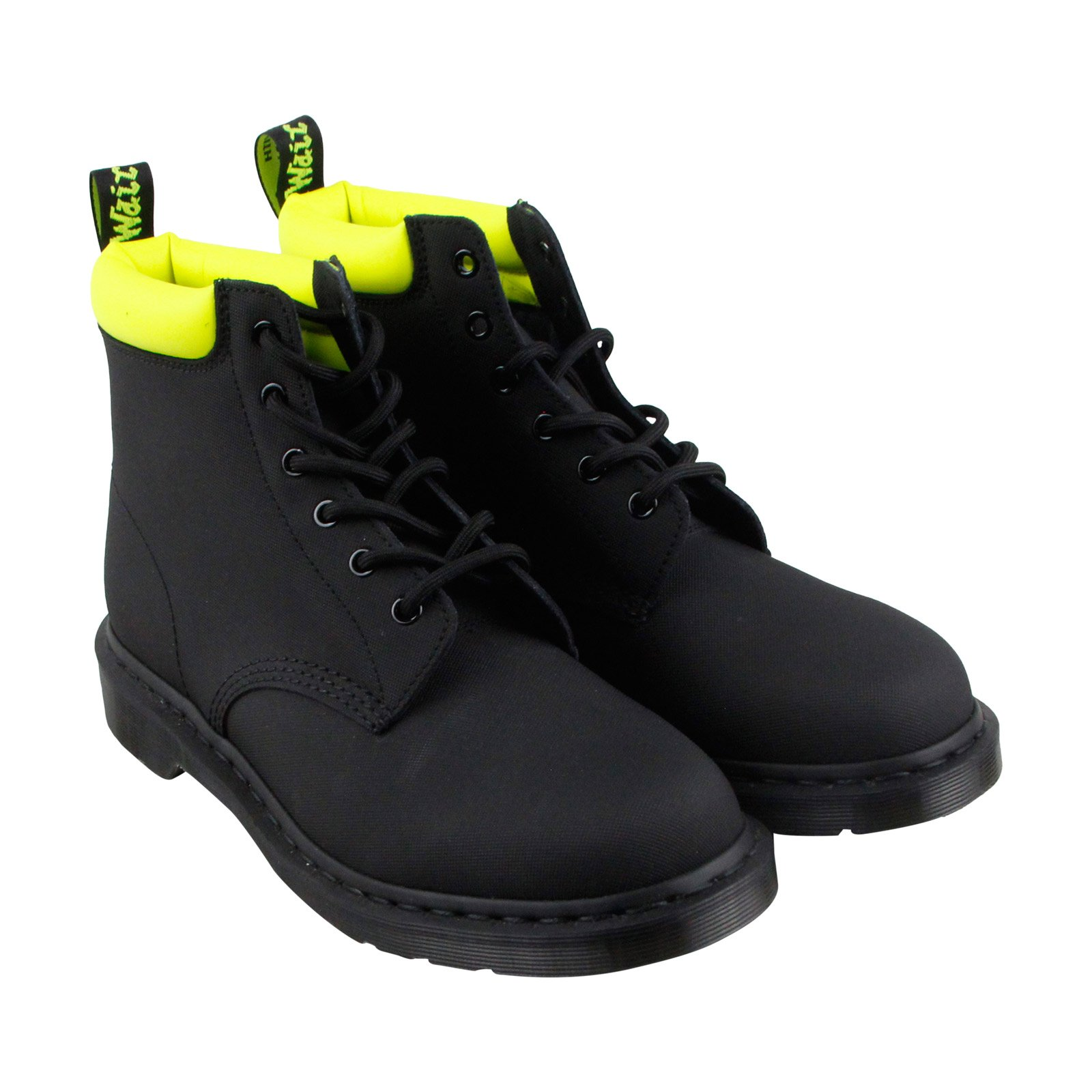 Dr. Martens  Men's 939 6-Eye Boot Black Ajax/Neon Yellow Pu Boot, Size 7 by Dr. Martens
