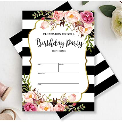 Amazon Mocsicka Black And White Stripes Birthday Invitations Pink Floral Party Invite 20 Fill In Envelopes Health Personal