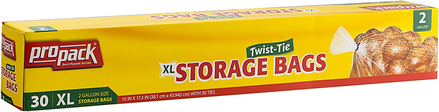 ProPack Disposable Plastic Storage Bags with Original Twist Tie, XL 2 Gallon Size, 30 Bags, Great for Home, Office, Vacation, Traveling, Sandwich, Fruits, Nuts, Cake, Cookies, Or Any Snacks (1 Packs)