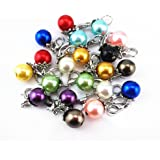 Yueton 20pcs Colorful Pearl Dangle Charms Pendant with Lobster Clasp Jewelry Making Accessory Fit Floating Locket Charms Necklaces (Silver)