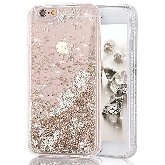 new style cc94f cc942 iPhone 6s Case with Liquid, Shinymore Moving Liquid Quicksand Floating  Bling Sparkle Glitter Pearls Beads Pearlet Case with Diamond Pattern Soft  ...