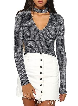 Futurino Women's Fitted Lightweight Rib Knit Choker Casual Sweater Top