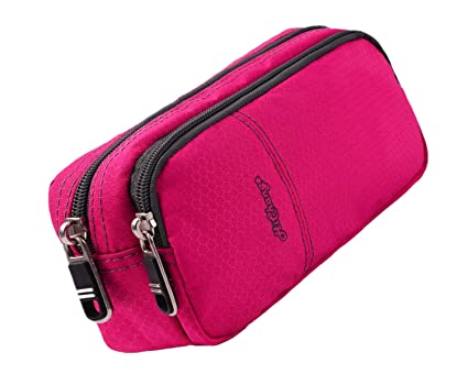 Pencil Case for Girls with Double Zipper (Pink)