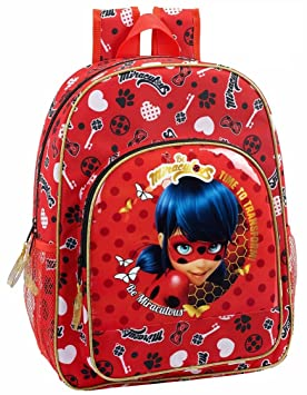 "Safta Mochila Escolar Niños Ladybug ""Sparkle"" Oficial 330x140x420mm"