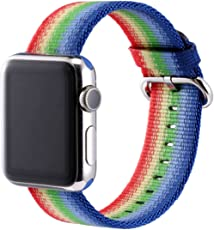 Correa de Nylon para Apple Watch de 38mm y 42mm. Banda Ajustable de Nylon Vedicci. Correa Deportiva de Tela Nylon para Apple iWatch 38mm y 42mm. Series 1 Series 2 Series 3. ¡Disponible en 16 Diseños y Colores! Nylon Sport Loop. Nylon Apple Watch Band. (Arcoiris, 42mm)