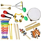SODIAL Musical Instruments Set,20 PCS Wooden Percussion Toy Rhythm & Music Education Band Set Fun Toddlers Toys Best Gift for Kids