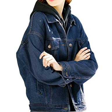 c09e7c333ba Loose Women Dark Blue Washed Pocket Button Boyfriend Jean Jacket Denim  Jacket Coat(S-