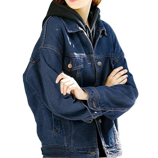Loose Blue Denim Jackets For Women Navy Blue Jean Jacket Women