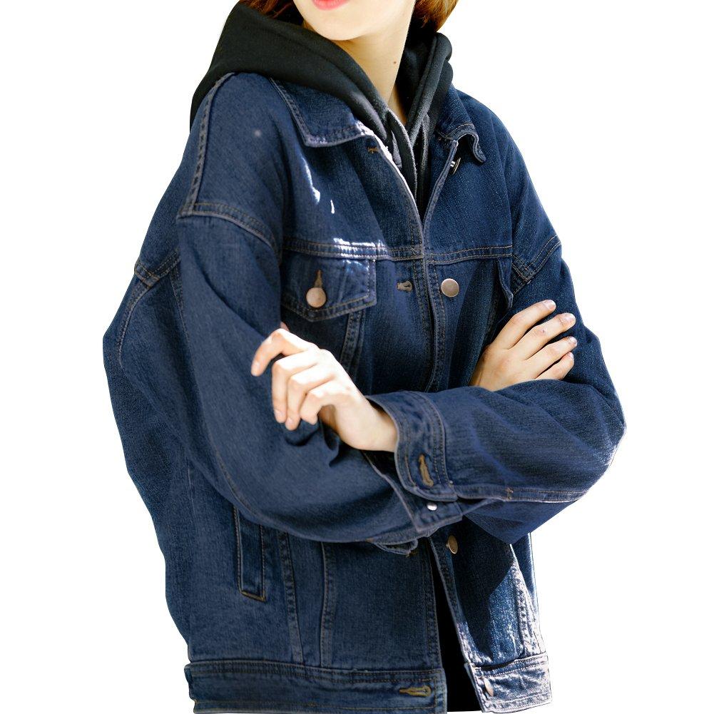 Loose Women Dark Blue Washed Pocket Button Boyfriend Denim Jacket Coat(L-Chest 44'', Dark Blue)