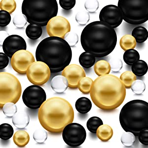 10000 Pieces Transparent Water Gels and 100 Pieces Simulated Pearl Beads for Vase Fillers Floating Water Gems Assorted Round Faux Pearl for Graduation Home Wedding Decor (Bright Gold, Bright Black)
