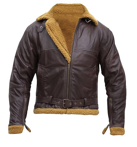 Ginger Flying Aviator Faux Fur Genuine Sheepskin Leather Jacket For Men