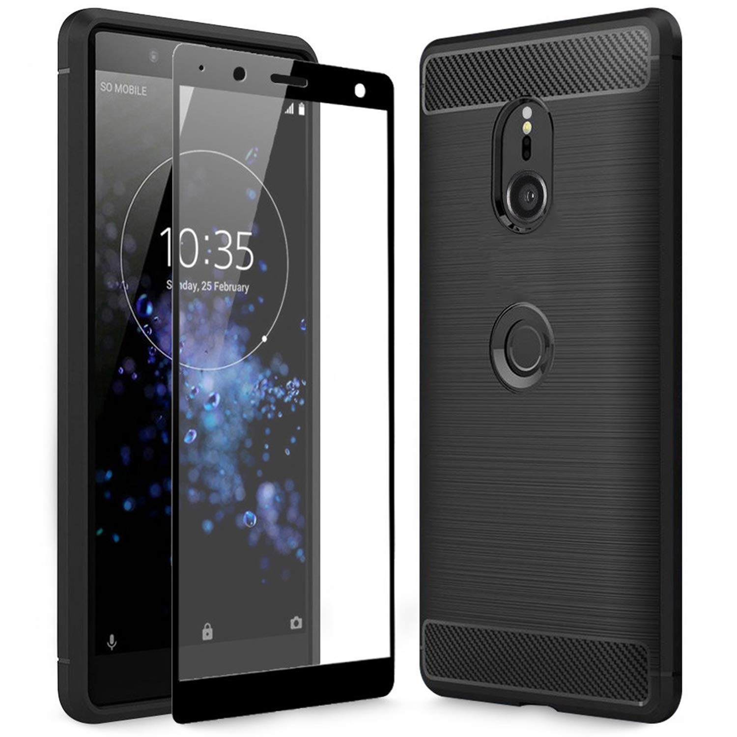 c1912986c5 Olixar Sony Xperia XZ3 Case With Screen Protector - Case Compatible  Tempered Glass - Tough Case - Front + Back Protection - Wireless Charging  Compatible ...