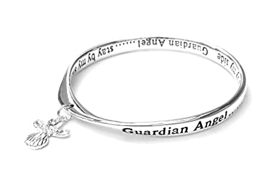 Equilibrium Silver Plated Bangle - Guardian Angel.. Stay by my side RKWdoA