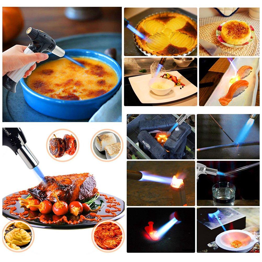 Lifebee Chalumeau de Cuisine Professionnel Meilleur Bruleur pour Caramélisation Creme Brulee Chalumeau de cuisine pour crème à brulée , cuisson barbecue