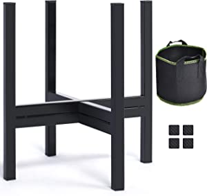 Klvied Indoor Plant Stand, Metal Planter Stand with Plant Bag, Outdoor Potted Plant Holder, Mid Century Flower Pot Stand 12 Inches for Patio Garden, Corner Balcony, Living Room, Bedroom, Black