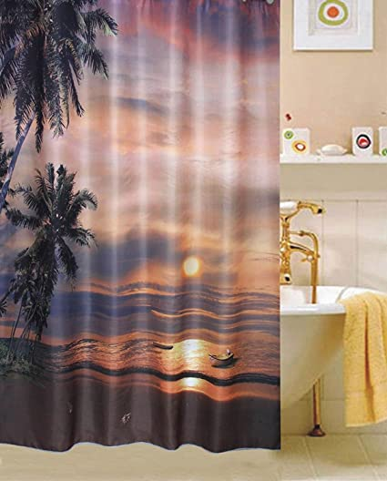 Amazon Tropical Summer Beach Fabric Shower Curtain Sunset