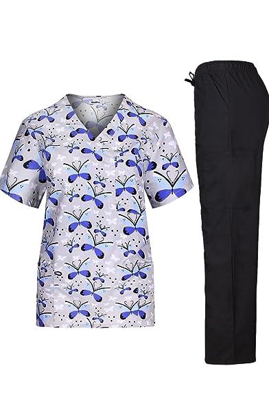 MedPro Scrub Médico de la Mujer Set con Impreso Wrap Top y Pantalones de Carga -